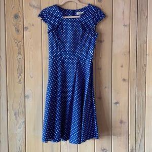 Vintage Blue Polka Dot Dress Great Fit Size S